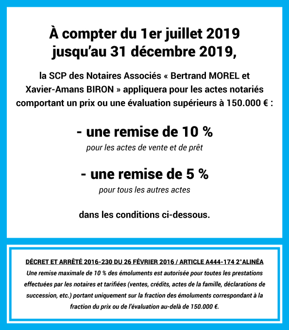 remise tarif notaire france figeac lot honoraires actes vente donation